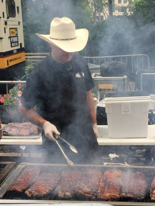 Big Apple BBQ Block Party ribs on the grill