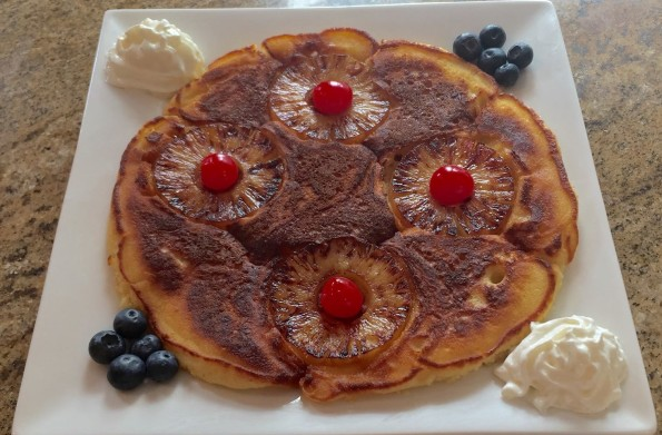 pineapple upside down pancakes with blueberries