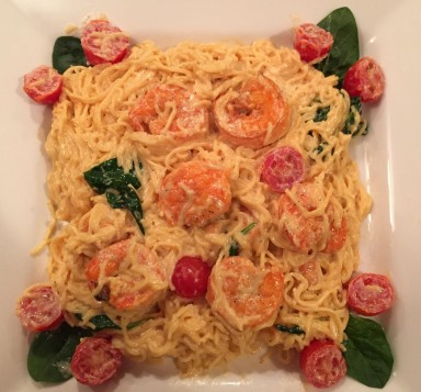 Angel Hair Pasta with Shrimp in cream sauce