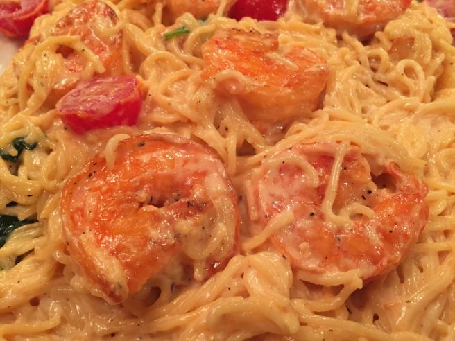 Gabriel's Angel Hair Pasta with shrimp