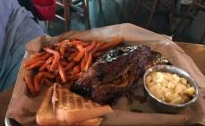 Kansas City Style Beef Rib with sweet potato fries and mac 'n cheese